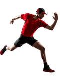 Man runner jogger running jogging jumping silhouette Royalty Free Stock Photos