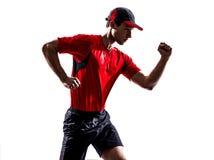 Man runner jogger running jogging silhouette Stock Photos