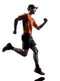 Man runner jogger running jogging silhouette Stock Image