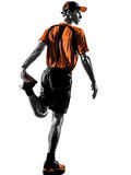 Man runner jogger stretching warming up silhouette Stock Photos