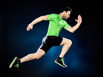 Man runner running jogger jogging isolated Stock Image