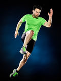Man runner running jogger jogging isolated Stock Photo