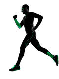 Man runner running jogging jogger silhouette. One man runner jogger running jogging in silhouette isolated on white background stock photos