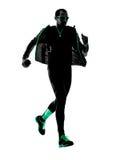 Man runner running jogging jogger silhouette Stock Photo