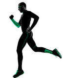 Man runner running jogging jogger silhouette Royalty Free Stock Images