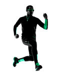 Man runner running jogging jogger silhouette Royalty Free Stock Photos