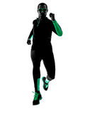 Man runner running jogging jogger silhouette Stock Photo