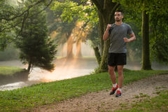 Man Runner Running Through The Spring Park Road Royalty Free Stock Image