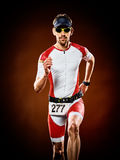 Man runner running triathlon ironman isolated stock images