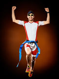 Man runner running triathlon ironman isolated royalty free stock photography