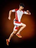 Man runner running triathlon ironman isolated stock image