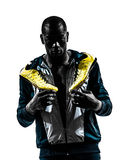 Man runner sprinter jogger posing portrait silhouette Stock Photography