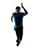 Man runner sprinter jogger silhouette. One caucasian man  running sprinting jogging in silhouette studio isolated on white background Stock Photography