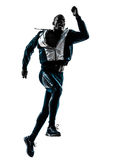 Man runner sprinter jogger silhouette. One caucasian man  running sprinting jogging in silhouette studio isolated on white background Royalty Free Stock Images