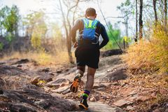 A man Runner of Trail . and athlete`s feet wearing sports shoes for trail running in the forest stock images