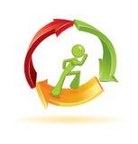 Man running in 3d  symbol. Man running in environmental 3d  symbol Royalty Free Stock Photos