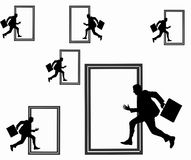 Man running across the door Stock Images