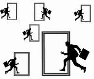 Man running across the door Stock Images