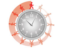 Man running around the clock Stock Image