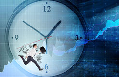 A man running around a clock