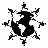 Man running around the globe Royalty Free Stock Image