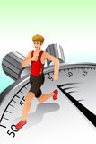 Man running around on top of the stopwatch Royalty Free Stock Photo