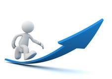 Man running on arrow concept  3d illustration. Man running on arrow 3d illustration  on white background Stock Image