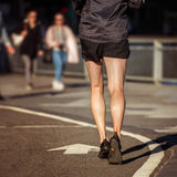 Man running on asphalt runners road in the New York City Royalty Free Stock Photography