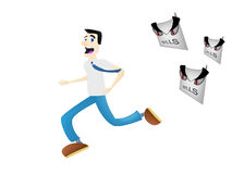 Man running away from bills Royalty Free Stock Photography