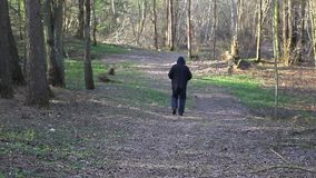 Man running away on the trail in the park. In summer day stock video footage