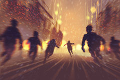 Man running away from zombies. Burning city in background,illustration,digital painting Royalty Free Stock Photo