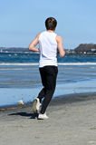 Man running on the beach. Royalty Free Stock Images