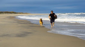 Man Running on Beach with Dog Stock Photography