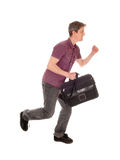 Man running with briefcase. Royalty Free Stock Images