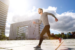 Man running in the city Stock Photography