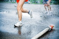 Man running in city marathon Royalty Free Stock Photos