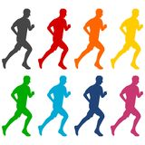 Man running color silhouettes royalty free illustration