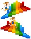 A Man Running on Colourful Stair. Illustration stock illustration