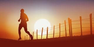 A man running on a country lane at sunset royalty free illustration