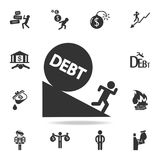 man running debt ball fall icon. Detailed set of finance, banking and profit element icons. Premium quality graphic design. One of royalty free illustration