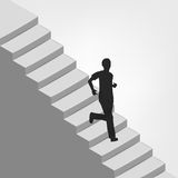 Man running down on diagonal staircase Royalty Free Stock Photos