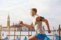 Man running in early morning Royalty Free Stock Photo