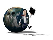 Man Running from Earth Bowling ball. A business man running away from a bowling ball coloured like the earth Royalty Free Stock Photography