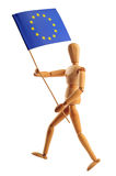 Man running with EU flag. Wood man running with EU flag, studio shot with clipping path stock image