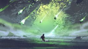 Man running from falling meteorites royalty free illustration