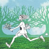 Man running in the forest. Man running with bouquet of flowers and squirrel on his back. Forest with blue sky background Stock Photography