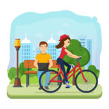 Man running on freelance, rest on bench, girl rides bicycle. Royalty Free Stock Photos