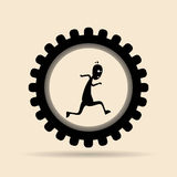 Man Running on Gear Stock Photography