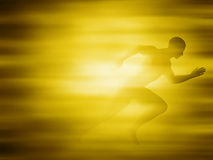 Man running for gold Stock Photo