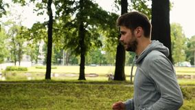 Man running at the green summer park. Attractive powerful sportsmanman running in the park in gray jacket. Profile steadicam shot. Green trees background stock video